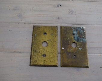 Single Cast Brass Metal Switch Plate Cover, Push Button