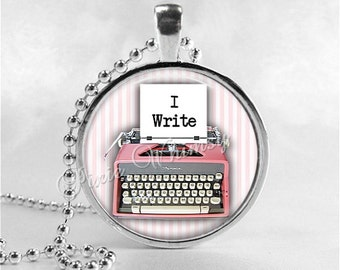 WRITER Necklace, I WRITE Necklace, Writer Pendant, Writer Jewelry, Pink Typewriter, Writing, Typewriter, Author, Book, Gift for Writer