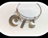 Grandma - Love You to the Moon and Back - Crystal - Expandable Bracelet
