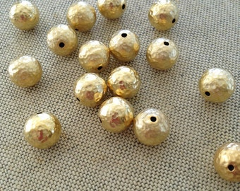 22K Gold Plated Brass Bead, Hammered Gold Beads, 10mm, 4pcs