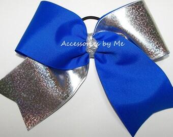 Big Cheer Bow, Sparkly Royal Blue Silver Cheer Bow, Glittery Ribbon Cheerleader 7 Inch Bows, Blue Dance Bows, Special Bulk Price Cheer Bows
