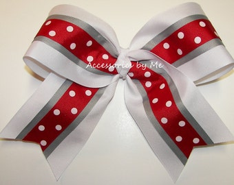 Big Cheer Bow, Red White Gray 7 Inch Ribbon Bow Hair Elastic, Cheerleader Alabama Crimson Tide School Spirit, Softball Volleyball Bulk Price