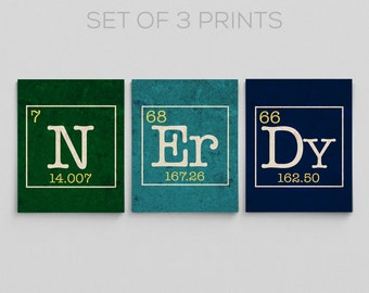 Science Dorm Decor Periodic Table Nerdy Set Science Chemistry Nerdy Gift Ideas Teacher Gifts for Teacher N Er Dy Gifts for Him Gifts for Her