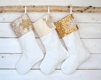 Christmas Stockings - Sequins & Velvet Stockings - Set of 3 - Sequins Stockings, Stockings, Monogrammed Stocking