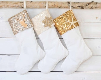 Christmas Stockings - Sequins and Velvet Stockings - Set of 3 - Stockings, Sequins Stockings