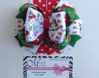 Hello kitty Christmas hair bow ***FREE SHIPPING***