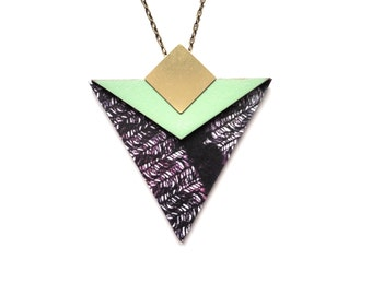Geometric Triangle Necklace - Mint & Black Feather Patterned Geometric Jewellery Triangle Jewellery
