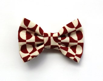 Red & White Patterned Hair Bow