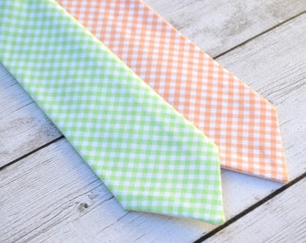 Boys peach tie, peach wedding tie, toddler wedding outfit, ring bearer outfit, pageboy outfit, mint tie for boys, boys necktie