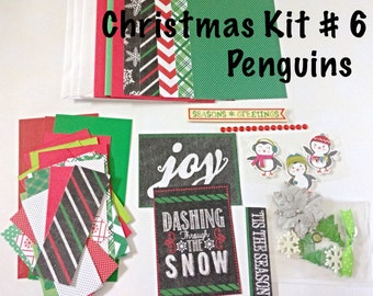 DIY Christmas Card Making Kit #6 - Penguin Themed, Kid's Card Making Kit, Activity Kit For Kids, Craft Kit for Children, Kid's Holiday Craft
