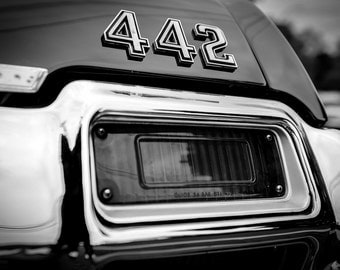 Oldsmobile 442, fine art Photography, Black and white, wall art, home décor, car photography, vintage, truck, auto, gift, print