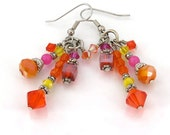 MAJOR MARKDOWN - Bright Orange Hot Pink Lemon Yellow Tassel Statement Earrings-Summer Brights