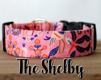 "Sophisticated Navy & Pink Vintage Inspired Dog Collar ""The Shelby"""