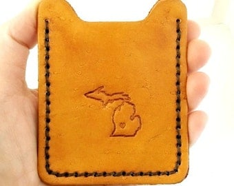 Michigan Money Clip Wallet. Mens Leather Wallet. Personalized Money Clip Credit Card Holder. Third Anniversary Gift for Husband - State