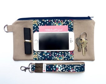 iphone 6 plus case, purse with removable strap, errand runner pouch, smartphone wristlet, iphone 6 clutch,