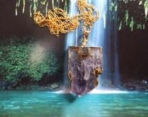Language of Light Amethyst Pendant, Age of Aquarius, Natural, Organic, Zen and Now Large Stone