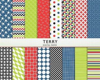 """MEGA SALE Digital Paper - """"Terry"""" - 16 Patterned SheetsInstant Download Cardstock G7534"""