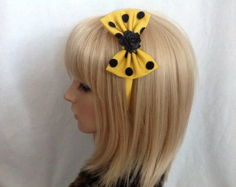 Yellow black polka dot rose headband hair bow rockabilly psychobilly sugar gothic Lolita cute pin up girl vintage shabby chic pretty