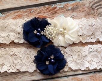 Your  Color, Navy Blue Garter Set , Wedding Garter , Ivory and Navy Blue Garter , Garter , Garter Set , Bridal Garter