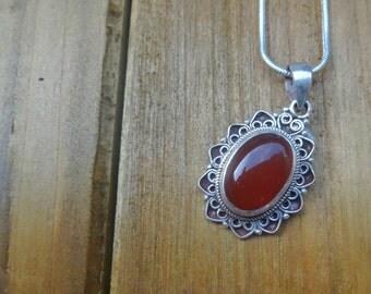 Red Jasper Necklace, Silver Chunky Glass Pendant Sterling Silver Chain, Minimalist Jewelry, Decorative Bezel