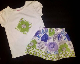 Boutique Skirt and Applique Tee 3T OOAK Purple/Green