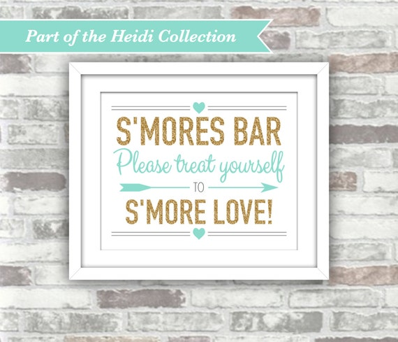 INSTANT DOWNLOAD - Heidi Collection - S'mores Bar Printable Wedding Sign - 8x10 Digital Files - Gold Glitter Effect Teal Turquoise Aqua
