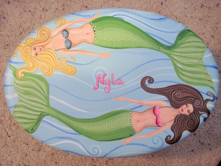 Hand Painted Mermaid Step Stool Gifts For Her Hand Painted