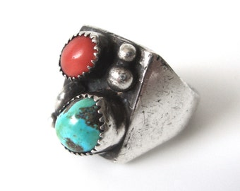 Navajo Turquoise And Coral Sterling Silver Ring Size 8.5