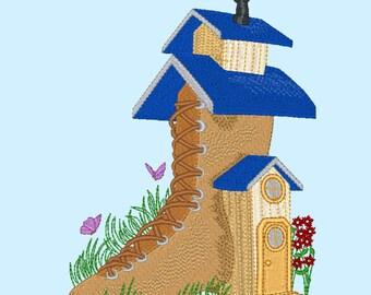 Fairy Tale 4: Shoe house machine embroidery design