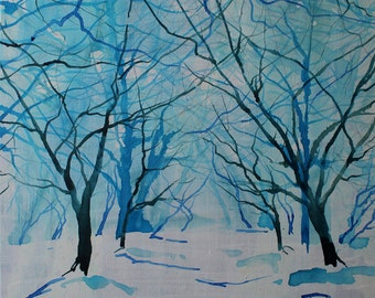 Original art on canvas, winter landscape, trees in snow, blue painting, ink painting, painting on canvas, tree art, woodland scene