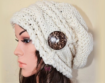 Slouchy cable style fashion beanie hat with button - CREAM - baggy slouch - Medium thickness & extra warm