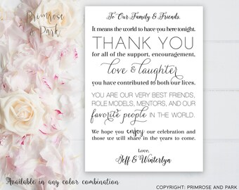 Wedding Thank You Place Card Printable // Wedding Reception Thank You // Table Decoration