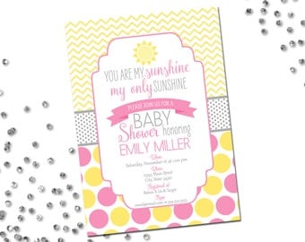 You Are My Sunshine Baby Shower Invitation - Yellow and Pink Polka Dots and Chevron Stripes - Printable