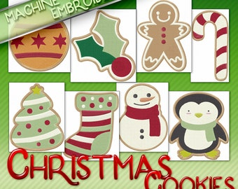 Christmas Cookies Embroidery Machine Designs - Adorable  Holiday Style Patterns - 2 Sizes Each - Multiformat Instant Download
