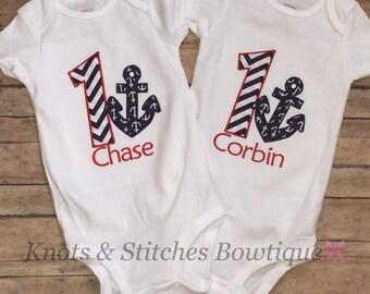 Anchor embroidered birthday shirt/onesie