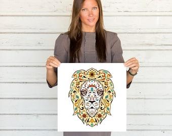 Abstract Lion Art Print