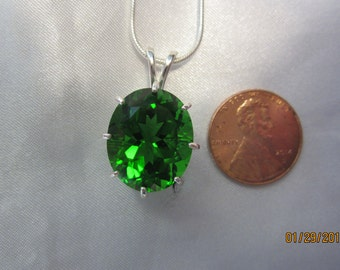 Vibrant Green  Oval Moldavite Pendant with 24 inch Chain