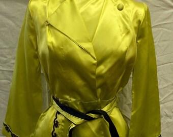 1940s Rayon Pajamas Chartreuse and Black Fabulous