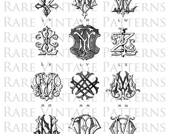 Fancy Vintage MONOGRAMS STENCIL Jpg Png Transparent Images Hand Embroidery Sewing Pattern Scrapbooking Instant Download