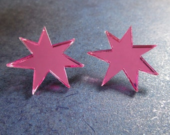Jem Cosplay Shiny Pink Star Stud Post Earrings