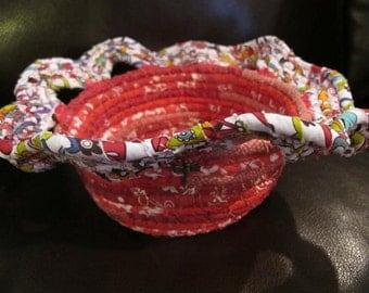 Red petaled coiled basket