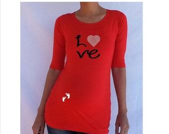 "Spring Sale, 10% OFF Ends April 30th. Funny, maternity Shirt ""Love"" with footprints Perfect for valentine's day or everyday..."