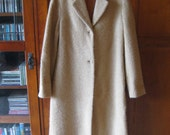 VINTAGE 1960s MissK Beige Tan Wool Long Coat 0 2 XS Lined Perfect Condition!