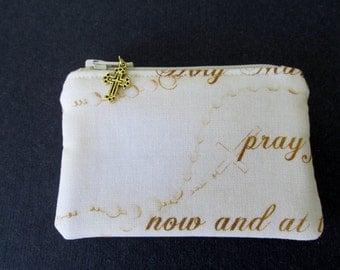 Women's Rosary Pouch, Hail Mary Fabric, Cream and Tan, Catholic Item, Gift