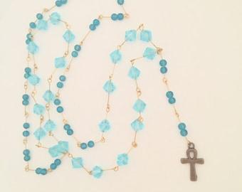 Rosary Style Ankh Necklace (Blue)