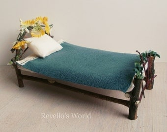 Fairy bed with flowers, dollhouse miniature 1/12