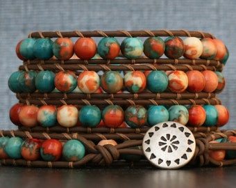 READY TO SHIP boho western bracelet - mountain jade on chocolate brown leather wrap - mens or womens - blue cream orange - wrapped jewelry