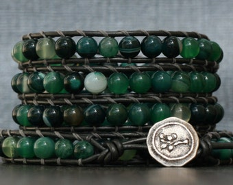 READY TO SHIP green gemstone bracelet - green stripe agate on pewter leather - mens or womens - boho beaded leather jewelry