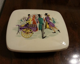 Scenes on the Thames - Ceramic Dish with Lid - Bristol Pottery England