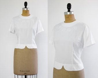 50s vintage white blouse | 1950s top